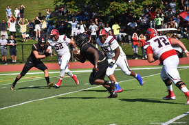 Senior Jimaar Edwards intercepts a Stepinac pass and returns it 20 yards for the game-tying score.